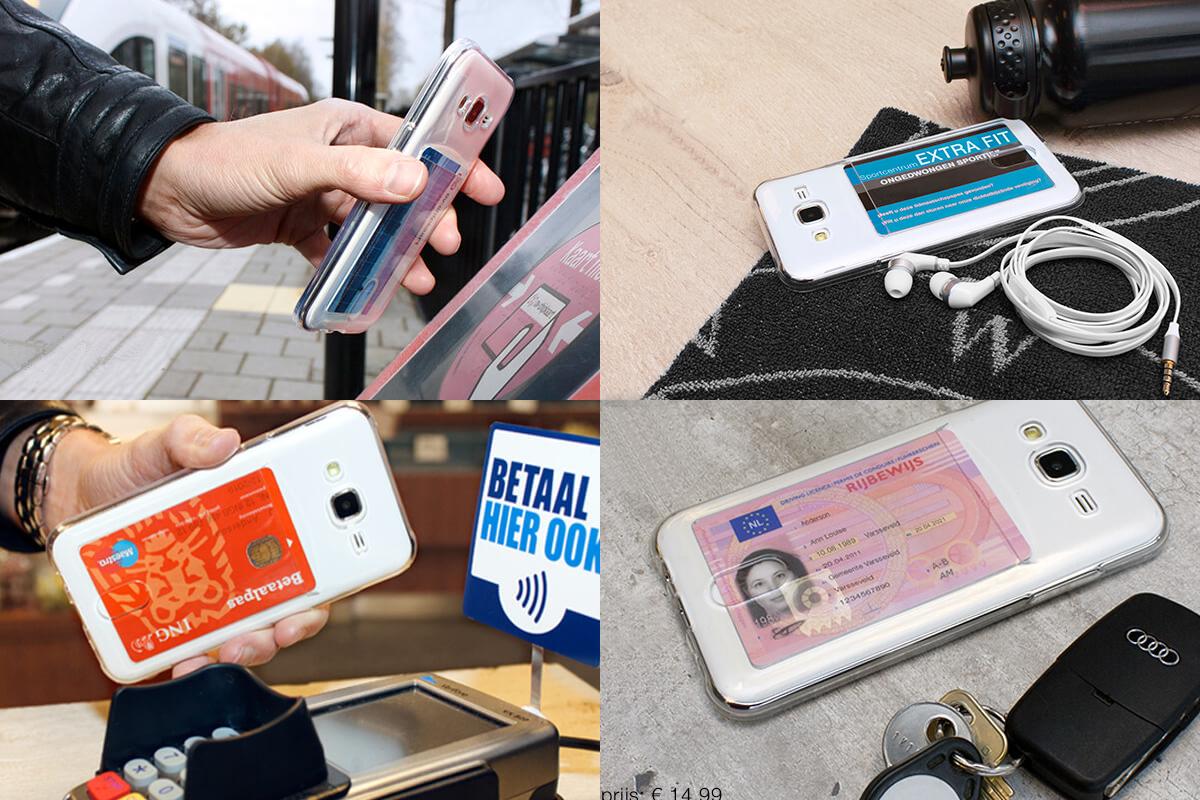 Transparante TPU Case met opbergruimte voor pasje