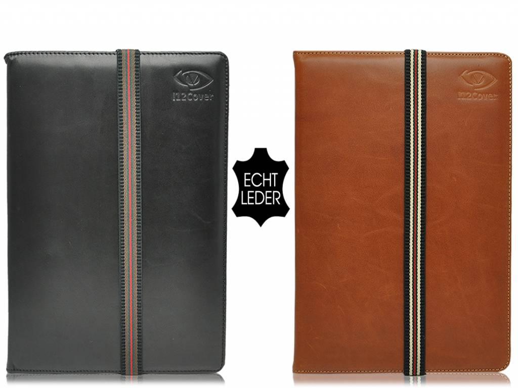 Universele Smalle 7 inch Echt Lederen Tablet hoes in de kleur zwart en bruin voor de Viewpia Tb 107