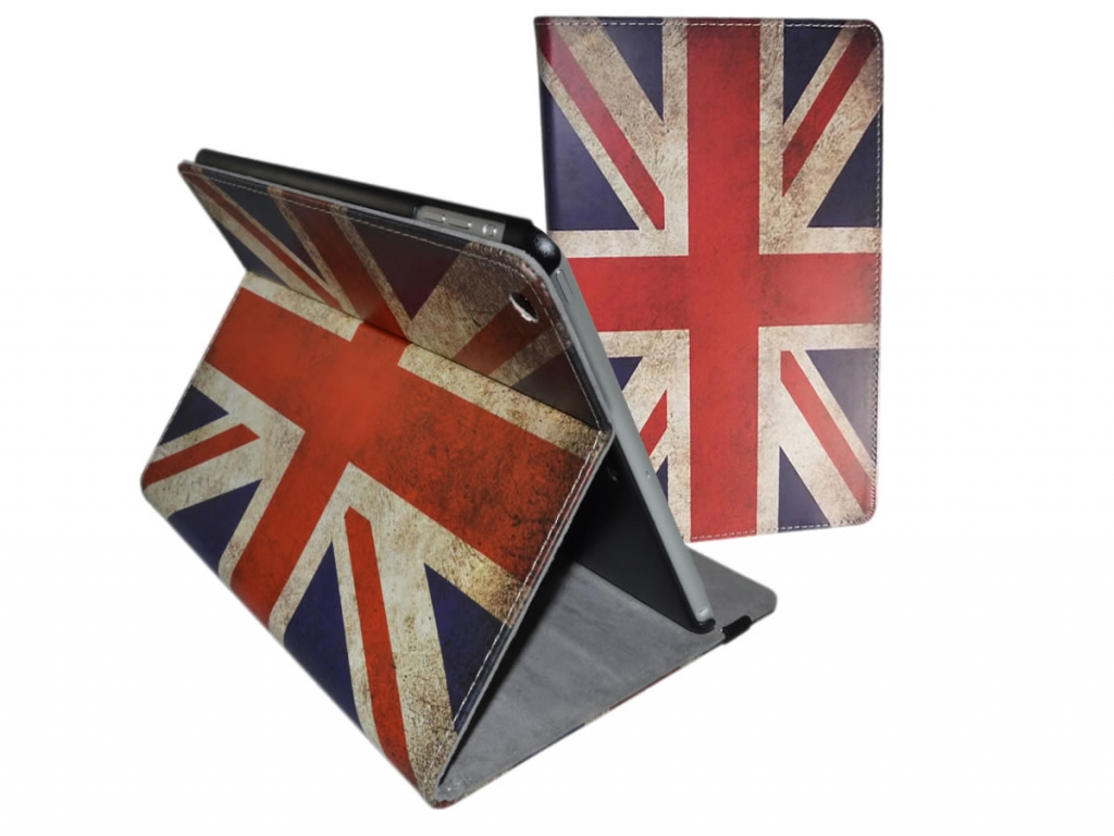Book Case for Apple iPad Air featuring a vintage English flag print.