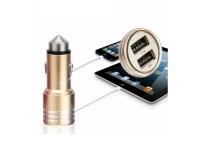 Dual USB Auto oplader met lifehammer voor Universeel Universeel