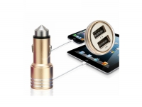 Dual USB Car Charger with lifehammer for