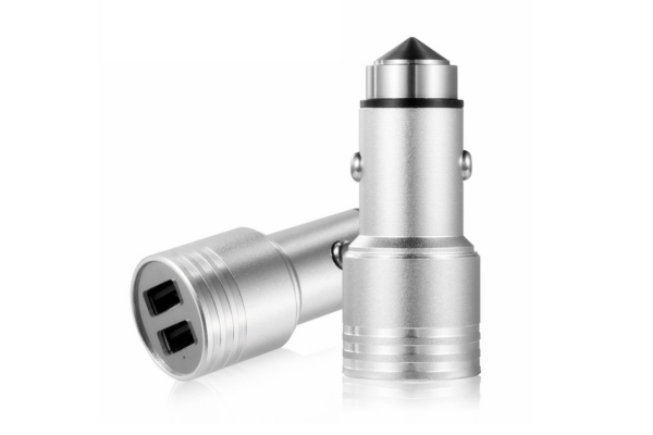 Dual USB Auto oplader met lifehammer voor Universeel Universeel zilverkleurig