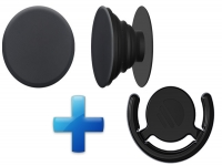 Button Houder PopSocket Style Zwart, met aanhang clip!