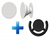 Button Houder PopSocket Style wit, met aanhang clip!