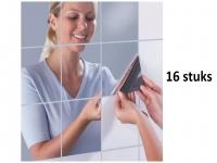 16 stuks Tegelsticker Plakspiegel - Spiegel Stickers Tegel voor Badkamer, Douche, WC of vlakke muur en wand