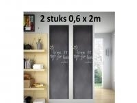 2 stuks Krijtbord Sticker - Schoolbord Sticker - Kinder Krijtsticker - Muursticker stickerrollen + Kalkbord Krijtjes, 60 x 200 cm