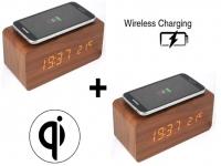 Houten wekker | Houten Qi charger | Houten klok - Bruin | Draadloze oplader lader  2 stuks