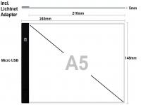 Lightpad A5 action met usb lader, LED lichtpaneel dimbaar