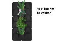 Verticale tuin met 18 grote vakken - 100cm x 50cm- hangende tuin - zwart - zwarte wand - groene muur - verticale moestuin zakken - plantenhanger balkon - plantenbak - plantenzak, 1 x 0.5 meter
