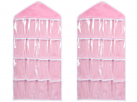 Duo-pack Closet organizer, 16 compartments (pink)
