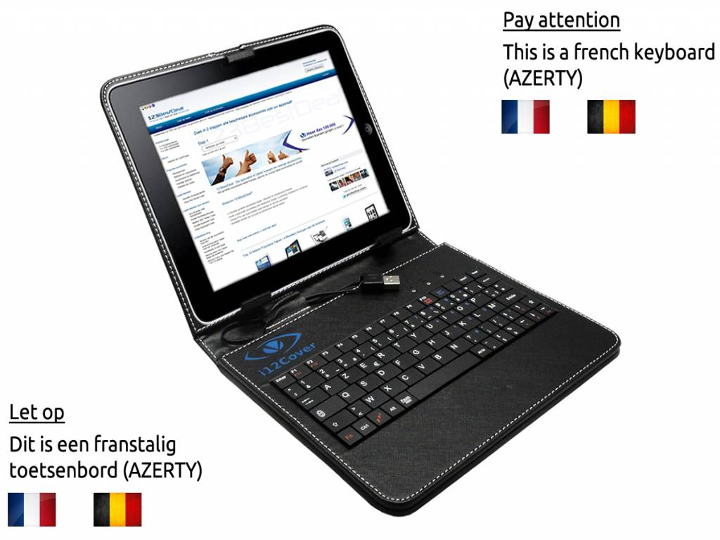 Black AZERTY Keyboard Case for the